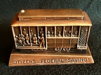 Metal Banthrico Bank, Citizens Federal Savings, 1885 Model Trolley / Street Car