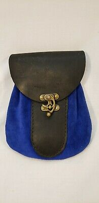 Medieval Accessories Blue Props Leather Bag Coin Pouch SCA Role Play ECU
