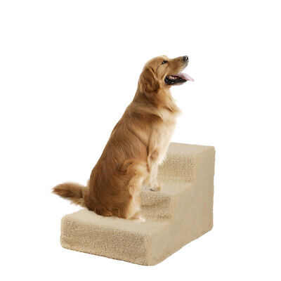 Soft Portable Cat Dog 3 Steps Ramp Small Climb Pet Step Stairs Streamlined Beige