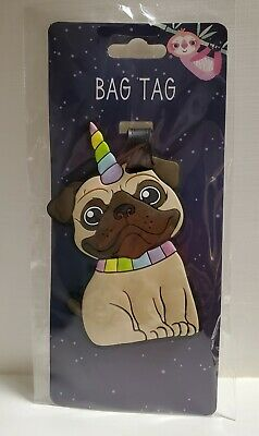 Pugicorn Bag Tag Pug Dog Luggage Suitcase Backpack Cute for Travel Vacation