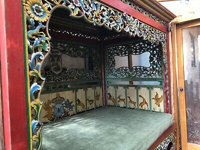 Fabulous Antique Hand Carved Wooden Indonesian Day Bed With Extra Long Mattress!