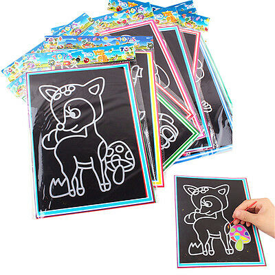 Colorful Magic Drawing Art Painting Paper Kids Educational Stick Toys uuPTAU