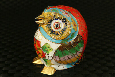 fine Rare chinese old cloisonne hand work lovely owl statue collectable