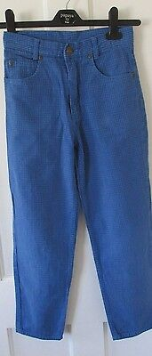 "Boys Blue checked jeans/trousers "" Age 10 . "" The trader company./Debenhams."