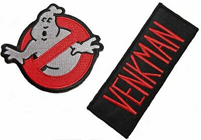 Ghostbusters Logo & Venkman Name Embroidered Iron on Patch Set of 2