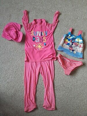 GIRLS ALL IN ONE SWIMSUIT SWIMMING COSTUME pink & MINNIE MOUSE TANKINI 4-5 YEAR