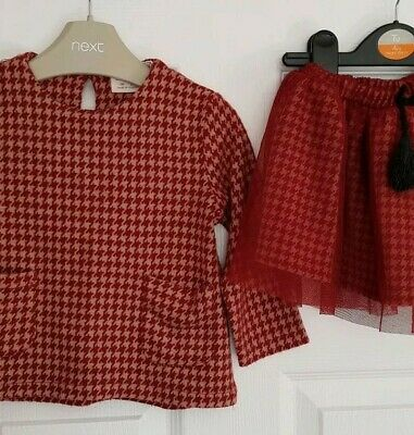 Zara Baby Girls Houndstooth Checked outfit bundle Age 12-18 Months burgundy