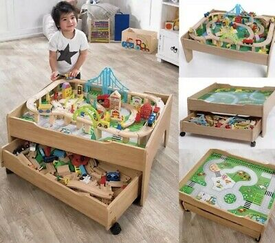120 Pieces Wooden Train Toy Set Reversible City Table With Storage Drawer