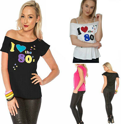 Ladies I Love The 80s T Shirt Top Off Shoulder Retro Party Outfit 6985Lot