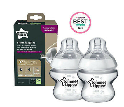 2 x Tommee Tippee | Baby Bottle | Clear | Anti-Colic Valve | 150 ml