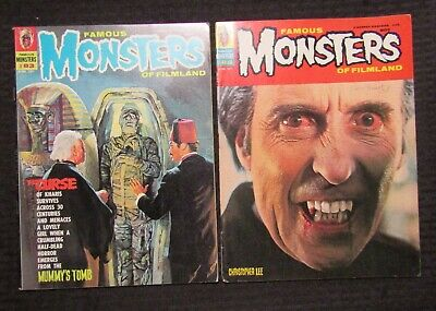 1971 FAMOUS MONSTERS Horror Magazine LOT of 2 #83 FN+ #84 FN Christopher Lee