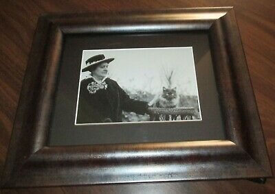 Framed Matted Black & White Photo Picture Of Woman In Hat With Cat