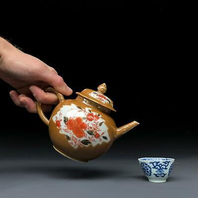 "antique CHINESE ""CAPUCHINE"" GLAZED TEAPOT 18th century Qianlong export porcelain"