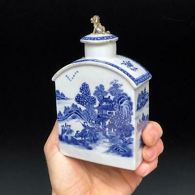 QUALITY! antique CHINESE TEA CADDY 18th century BLUE & WHITE porcelain canister