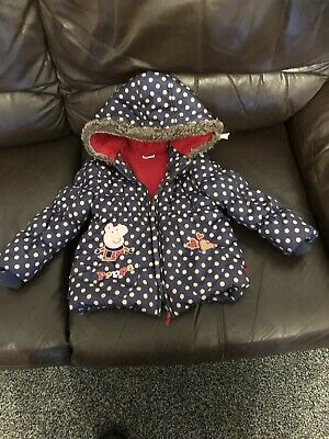 Girls Peppa Pig Padded Coat With Hood Age 3-4 Years T U