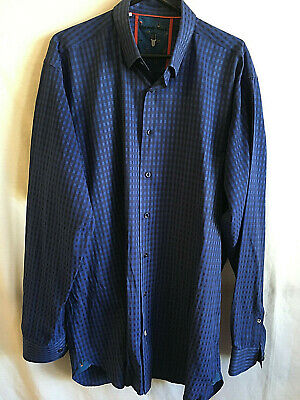 Visconti Black Button Front Shirt Extra Large Tall Blue Plaid Buttoned Collar