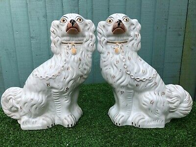 SUPERB PAIR: V LARGE 19thC STAFFORDSHIRE WHITE & GILT SEATED SPANIEL DOGS c1880s