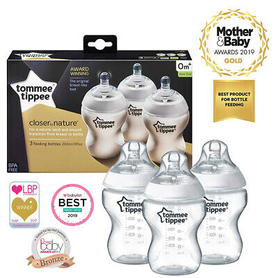 3 x Tommee Tippee | Baby Bottle 260 ml | Clear | Anti-Colic Valve | Pack of 3