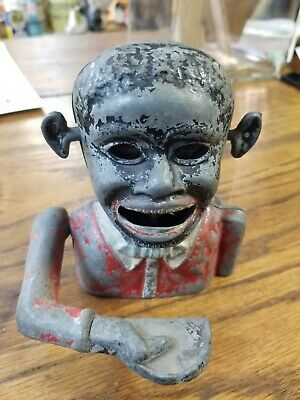 Antique Black Americana Aluminum Mechanical Bank  Vintage Metal Penny Coin jolly