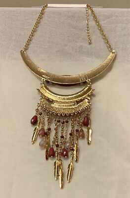 Vintage ART DECO Egyptian Revival CHARMS Fringe Charm CHUNKY STATEMENT Necklace