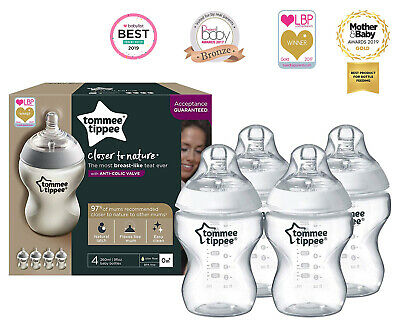 4 x Tommee Tippee | Baby Bottle 260 ml | Clear | Anti-Colic Valve | Pack of 4