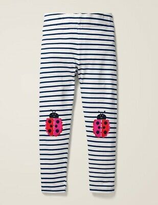 Mini Boden Appliqué Leggings - Ivory/College Blue Ladybirds 5/6 Years Girls