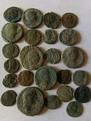 008.Lot of 24 Ancient Roman Bronze Coins,Uncleaned