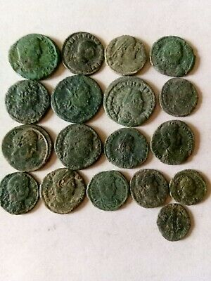 011.Lot of 18 Ancient Roman Bronze Coins,Uncleaned