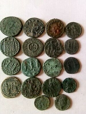 013.Lot of 18 Ancient Roman Bronze Coins,Uncleaned