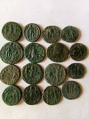 014.Lot of 16 Ancient Roman Bronze Coins,Uncleaned