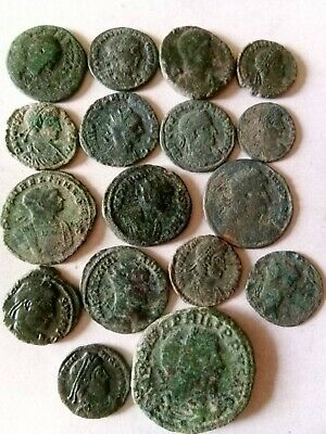015.Lot of 17 Ancient Roman Bronze Coins,Uncleaned