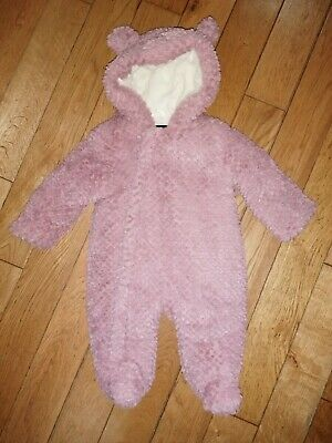 *Very* Gorgeous Baby Girls Pink Hooded Fluffy Furry Teddy Ears Snowsuit Coat