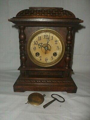 Gorgeous Vintage Wooden Pendulum Mantle Clock With Key