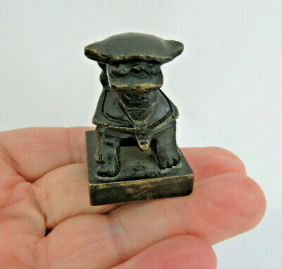 Old Chinese Solid Bronze Foo Dog Chop Seal  #2