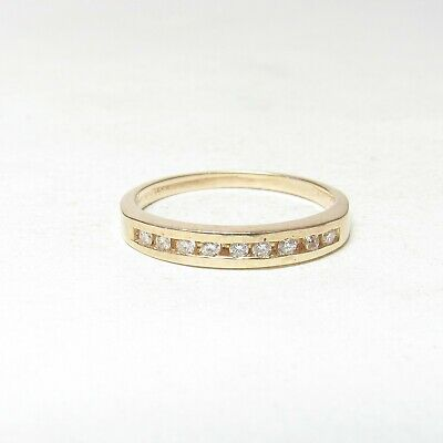 Estate 14K Yellow Gold 9 Round Brilliant Cut Diamond Band Style Ring 0.11 Cts