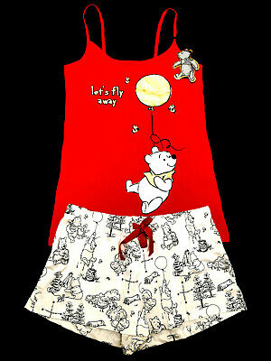 Winnie The Pooh Official Red Disney Ladies Vest & Short Pyjama Set Pj's Primark