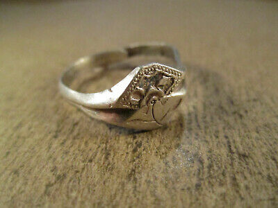 Antique Chinese Export Sterling Silver Flower Ring, Hallmarked, Adj Size, 3.7g