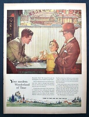 1954 Norman Rockwell watch maker art Watchmakers of Switzerland vintage print ad