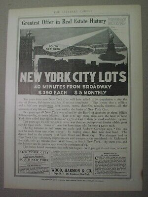 1910 ad - Land in STATEN ISLAND - lots in South New York for $390 or $5 a month!