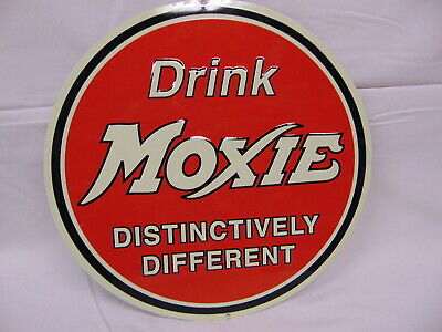 "Reproduction Drink Moxie Metal Sign  10 1/2"" Around"