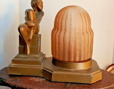 Antique Art Deco Betty Beck Nude Sculpture Table Lamp Pink Glass Shade