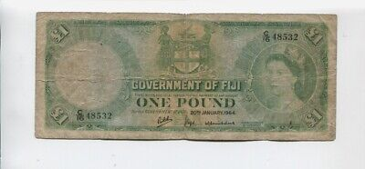 1964 Fiji One Pound  Banknote A-757