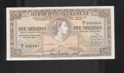 1957 Bermuda Five Shillings  Banknote A-741