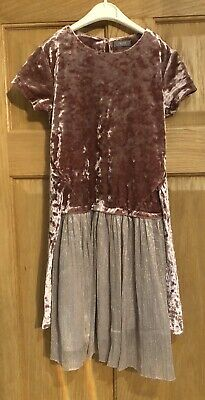 Girls Next Crushed Velvet Party Dress In Pink Age 6 Years