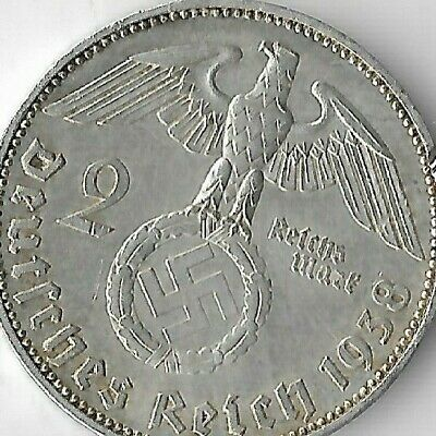 Rare Old German Silver 1938-E WWII Germany Eagle Great War WW2 Collection Coin