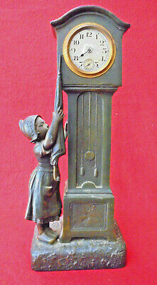 Antique French Spelter Miniature Grandfather Clock--Revielle Sonnerie, Running