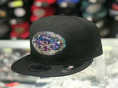 San Francisco 49ers FRACTURED OIL 9Fifty Snapback Hat - Black, Iridescent