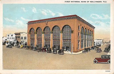 1920's First National Bank Hollywood FL post card