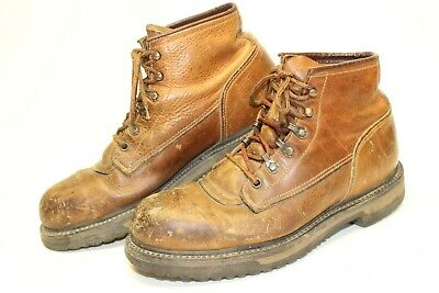 Red Wing Shoes USA Made Mens 10 D Brown Distressed Leather Steel Toe Work Boots