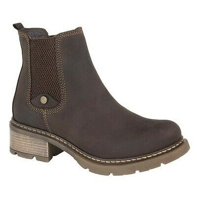 Cipriata CALICO Ladies Womens Real Leather Stylish Zip Up Chelsea Boots Brown